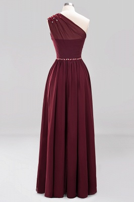 Fashion A-Line One-Shoulder Bridesmaid Dresses | Chiffon Sleeveless Beaded Wedding Party Dresses_15