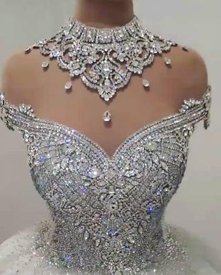 Glamorous High Neck Crystal Beaded Puffy Wedding Dresses_3