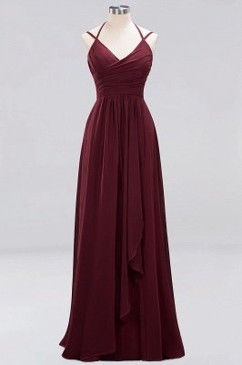 A-line  Spaghetti Straps Sleeveless Ruffles Floor-Length Bridesmaid Dresses_27