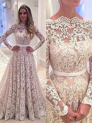 Charming Long Sleeves Court Train Lace Bateau Wedding Dresses_1