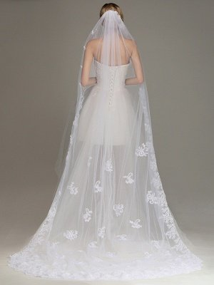 One Layer Wedding Veil with Comb Lace Edge Appliqued Bridal Veil?_1