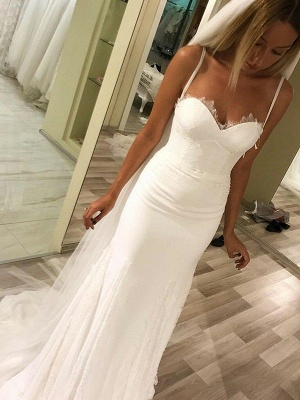 Satin Spaghetti Straps Sleeveless Sweetheart Column Sweep Train Wedding Dresses_1
