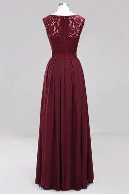 Simple A-Line Chiffon Bridesmaid Dresses   Scoop Sleeveless Lace Appliques Maid of the Honor Dresses_10