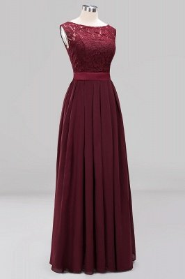 Simple A-Line Chiffon Bridesmaid Dresses   Scoop Sleeveless Lace Appliques Maid of the Honor Dresses_11