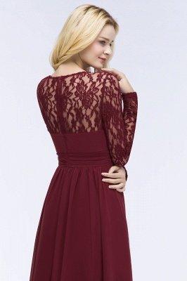 Elegant A-Line  Jewel Long Sleeves Ruffles Floor-Length Bridesmaid Dresses_7