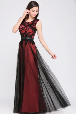 Elegant A-Line  Lace Sleeveless Floor-Length Bridesmaid Dress with Sash_4