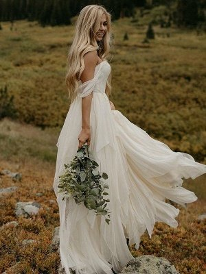 Off-the-Shoulder Floor-Length Sleeveless Chiffon Ruched Wedding Dresses_1