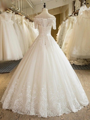Glamorous Floor-Length Tulle 1/2 Sleeves  Applique Puffy Off-the-Shoulder Lace Wedding Dresses_3