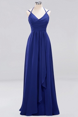 A-line  Spaghetti Straps Sleeveless Ruffles Floor-Length Bridesmaid Dresses_16