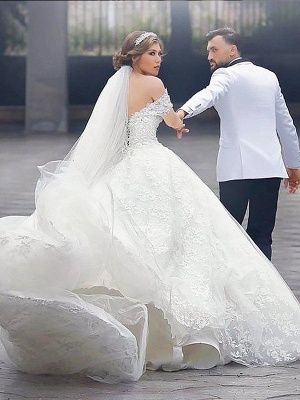 Irresistible Court Train Puffy Short Sleeves Off-the-Shoulder Wedding Dresses_3