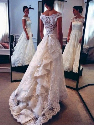 Charming Lace Sleeveless Scoop Court Train Wedding Dresses_1