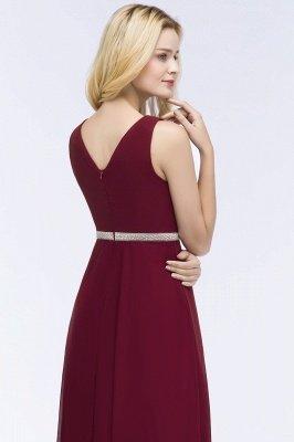 A-line  V-neck Long-Sleeveless Ruffled Floor-Length Bridesmaid Dresses with Beading Sash_5