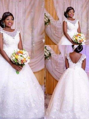 Elegant Floor-Length Tulle Sleeveless Scoop Floor-Length Puffy Applique Wedding Dresses_1