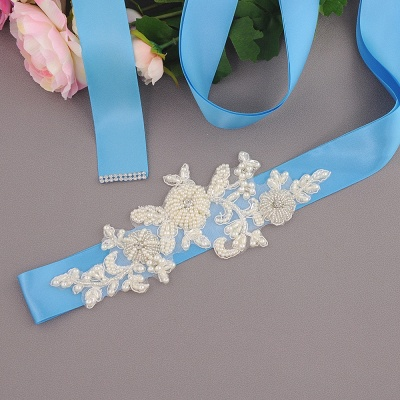 Beautiful Satin Flower Wedding Sash with Pearls_8