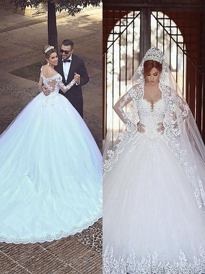 Long Sleeves Court Train Puffy Off-the-Shoulder Glamorous Wedding Dresses_1