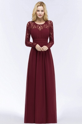 Elegant A-Line  Jewel Long Sleeves Ruffles Floor-Length Bridesmaid Dresses