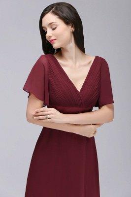 Simple A-Line  V-Neck Short-Sleeves Ruffles Floor-Length Bridesmaid Dresses_6