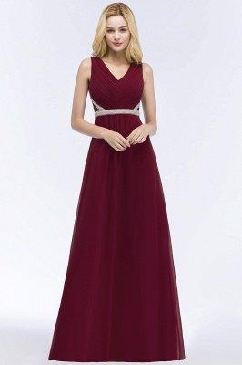 A-line  V-neck Long-Sleeveless Ruffled Floor-Length Bridesmaid Dresses with Beading Sash_1