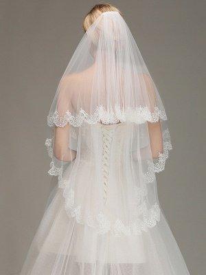 Elegant Two Layers Lace Edge Wedding Veil Appliques Long Bridal Veil_1