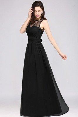 A-Line  Lace Jewel Sleeveless Keyhole Floor-Length Bridesmaid Dresses_4