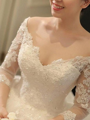Tulle Cathedral Train Off-the-Shoulder Puffy 3/4 Sleeves Beads Applique Wedding Dresses_5