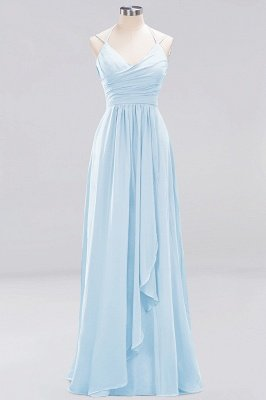 A-line  Spaghetti Straps Sleeveless Ruffles Floor-Length Bridesmaid Dresses_14