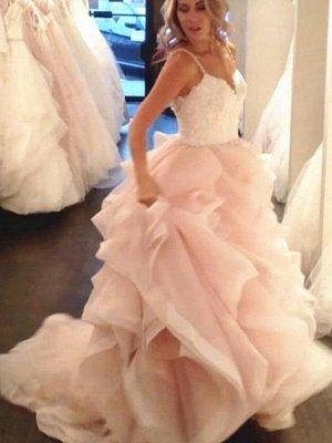 Charming Sleeveless Sweep Train Sweetheart Ruffle Lace Organza Wedding Dresses_3
