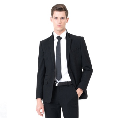 Fashion Peak Lapel Two Pieces with Pants Wedding Suits_3