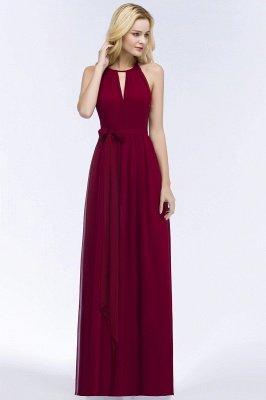 Vintage A-Line  Halter Sleeveless Ruffles Floor-Length Bridesmaid Dresses with Bow Sash_3