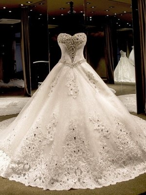 Sleeveless Sweetheart Puffy Cathedral Train Tulle Applique Sequin Wedding Dresses_1