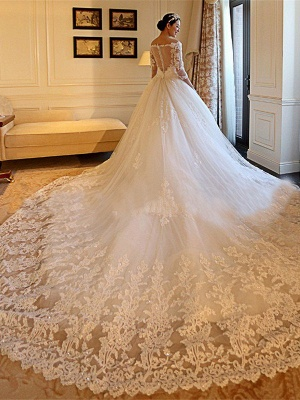Tulle Cathedral Train Off-the-Shoulder Puffy 3/4 Sleeves Beads Applique Wedding Dresses_4