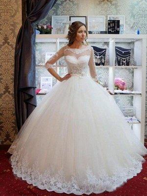 Elegant Floor-Length Scoop Puffy 1/2 Sleeves Tulle Applique Wedding Dresses_3
