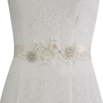 Beautiful Satin Flower Wedding Sash with Pearls_2