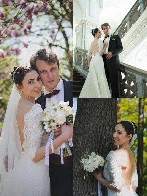 Stunning Sweep Train 1/2 Sleeves V-neck Column Lace Wedding Dresses_3
