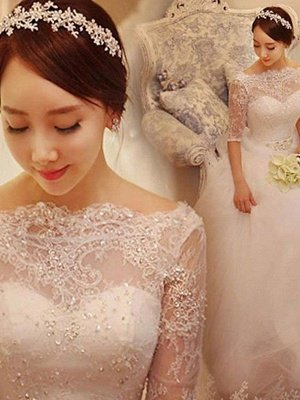 Off-the-Shoulder 1/2 Sleeves Chapel Train Tulle Puffy Beaded Wedding Dresses_1