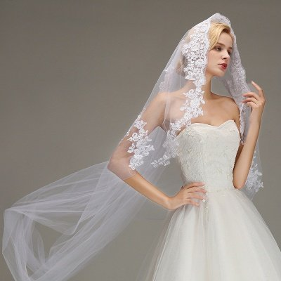 One Layer Wedding Veil with Comb  Appliqued Cathedral Length Bridal Veil_5