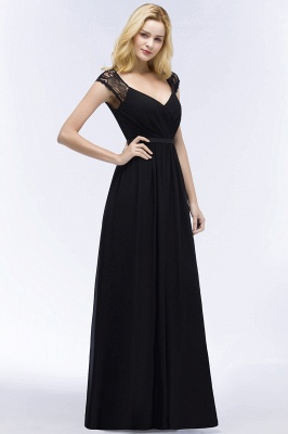 Elegant Mermaid Lace V-Neck Sleeveless Floor-Length Bridesmaid Dresses with Sash_3