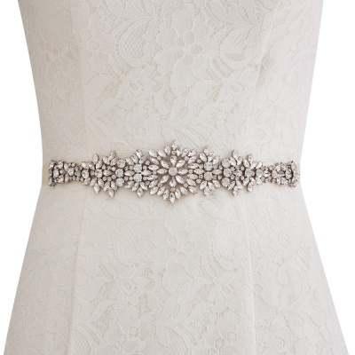 Satin Crystal Wedding Sash with Rhinestone_1