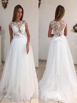 Stunning Sleeveless Sweep Train Scoop Tulle Wedding Dresses_1