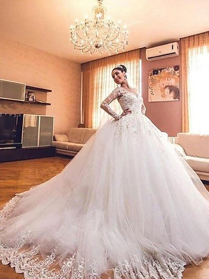 Dramatic Puffy V-neck Long Sleeves Tulle Court Train Wedding Dresses_1
