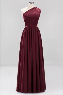 Fashion A-Line One-Shoulder Bridesmaid Dresses | Chiffon Sleeveless Beaded Wedding Party Dresses_14