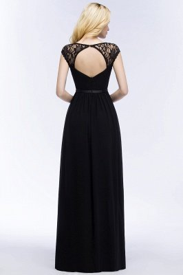 Elegant Mermaid Lace V-Neck Sleeveless Floor-Length Bridesmaid Dresses with Sash_2