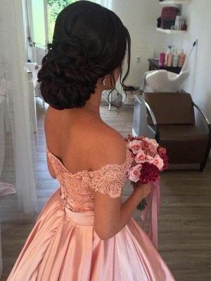 Sleek Satin Cathedral Train Sleeveless Ruffles Off-the-Shoulder Puffy Wedding Dresses_3