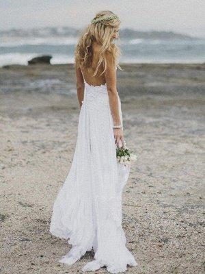 Elegant V-neck Applique Wedding Dresses | Sweep Train Chiffon Sleeveless Bridal Gowns_3