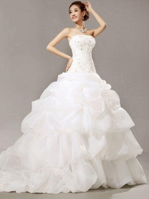 Glamorous Cathedral Train Beaded Puffy Strapless Organza Lace Pleats Sleeveless Wedding Dresses_1