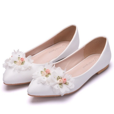 Fashion Pionted Toe PU Flat Wedding Shoes with Flowers_3