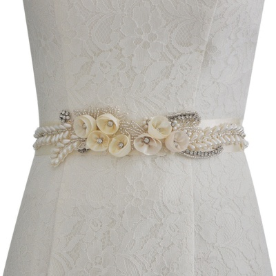 Handmade Flower Pearl Wedding Sash with Beadings_1