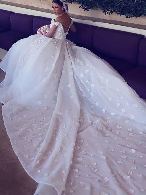 Dramatic Chiffon V-neck Chapel Train Puffy Sleeveless Satin Wedding Dresses_4