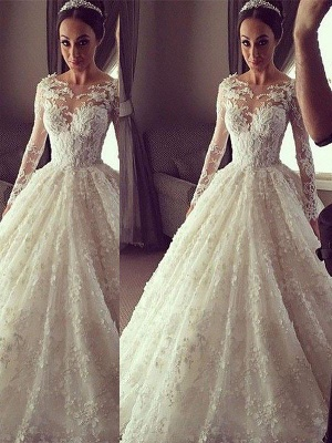 Breathtaking Scoop Lace Puffy Court Train Long Sleeves Wedding Dresses_1