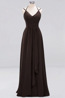 A-line  Spaghetti Straps Sleeveless Ruffles Floor-Length Bridesmaid Dresses_7